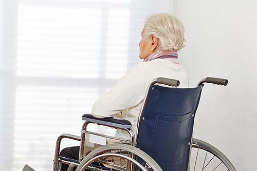 Elderly woman sitting in a wheel chair facing the window